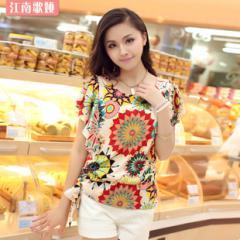 韩版夏装女装江南歌娅印花大码雪纺衫上衣新款2013